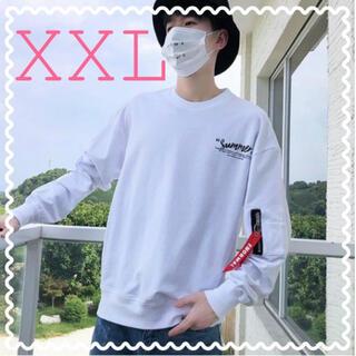 【即購入】新作 バックプリント トレーナー スウェット オルチャン 白 XXL(スウェット)