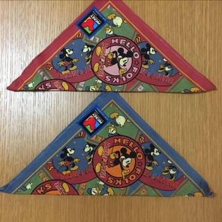 ディズニー(Disney)の[未使用] 大判 ハンカチ 2枚セット ディズニー ミッキー 青、オレンジ(ハンカチ)