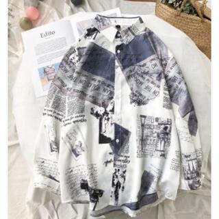 【ユニセックス】 ブルー 柄 シャツ 長袖 韓国ファッション 今期大流行