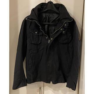 ミリタリージャケット バック刺繍 ブラック(ミリタリージャケット)
