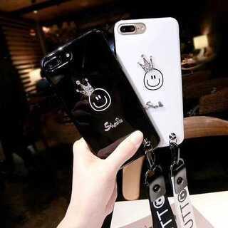 ★にこちゃん スマイル 王冠 iPhone6/6s/7/8/Plus/X ★(iPhoneケース)
