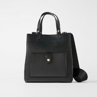 ZARA - 大人気商品♡ ザラ ZARA フロントポケット付きミディトートバッグ 2way