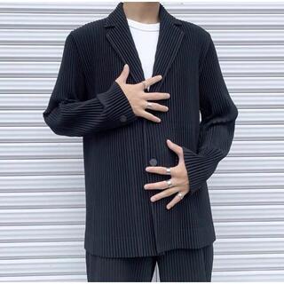 ISSEY MIYAKE - ISSEY MIYAKE homme plisse テーラードジャケット 黒