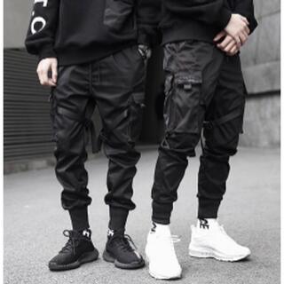 ひかる様 マルチポケットスポーツパンツ 黒 ブラック メンズ ジョギングパンツ(ワークパンツ/カーゴパンツ)