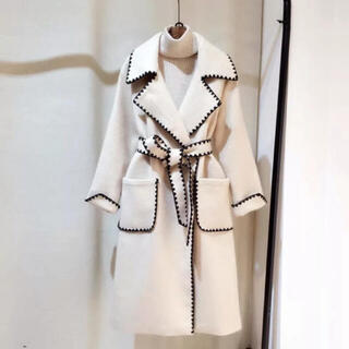 eimy istoire - サイド刺繍バイカラーコート
