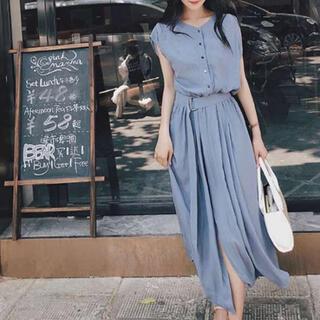 BestHit♡ フレア ワンピース レディース ベルト付き スカート (ロングワンピース/マキシワンピース)