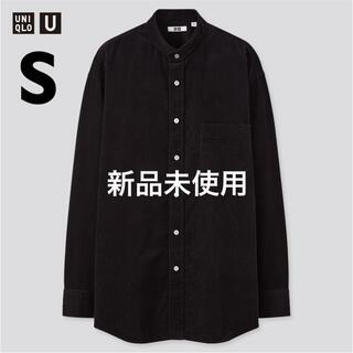 UNIQLO - コーデュロイワイドフィットスタンドカラーシャツ 黒 S