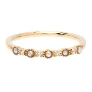 アガット(agete)のアガット K10 パール ダイヤモンド ピンキー リング 指輪 3号 agete(リング(指輪))