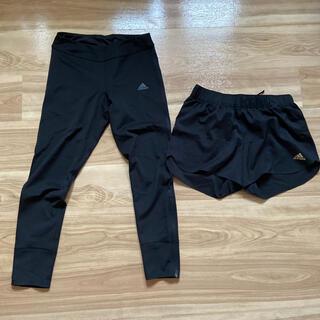 アディダス(adidas)のadidas ランニングパンツ タイツ セット ブラック レディース(ショートパンツ)