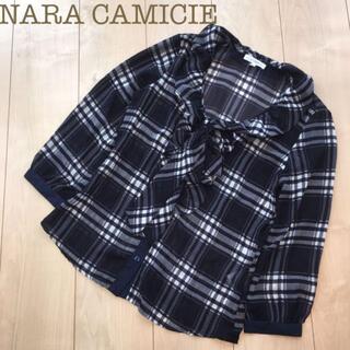 ナラカミーチェ(NARACAMICIE)のNARACAMICIEリボンタイフリルブラウス チェックネイビー0シャツ(シャツ/ブラウス(長袖/七分))