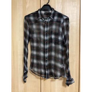 クロムハーツ(Chrome Hearts)のクロムハーツ シルク素材チェックシャツ シルバー925ボタン(シャツ)