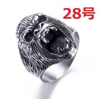 迫力抜群 海外限定 ゴリラ エイプ シルバー リング 指輪 28号(リング(指輪))
