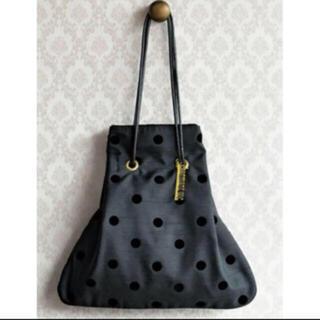 シャルマントサック巾着バッグ黒色水玉ドット限定品婦人画報(ハンドバッグ)