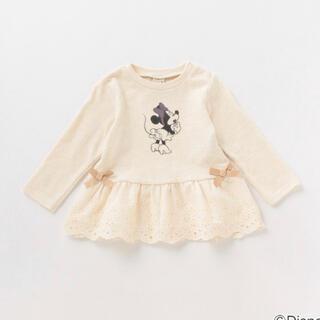 プティマイン(petit main)のプティマイン 130 ミニーマウスデザイン 裾レースペプラムTシャツ(Tシャツ/カットソー)