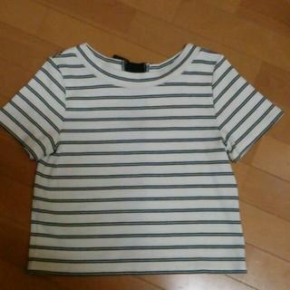 ミスティウーマン(mysty woman)のバックリボンボーダーT(Tシャツ(半袖/袖なし))
