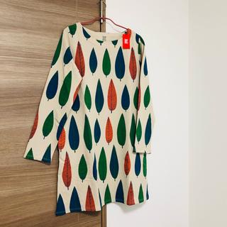 グラニフ(Design Tshirts Store graniph)の新品未使用 グラニフ リーフ柄ワンピース 長袖 レディース ベージュ(ひざ丈ワンピース)