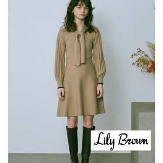 Lily Brown - 新品 Lily Brown ボウタイニットワンピース