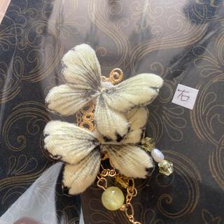 アッシュペーフランス(H.P.FRANCE)のHenriette 布花蝶のイヤーカフ ミモザ色 アンリエット様(イヤーカフ)