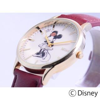 ディズニー(Disney)の【送料無料】ディズニー ミニー ワインレッド ベルトクォーツ【新品未使用】(腕時計)