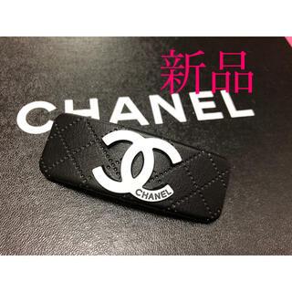 シャネル(CHANEL)の【新品】シャネル バレッタ 黒 革製(バレッタ/ヘアクリップ)