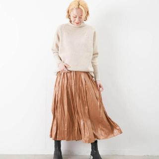 LUCA - LUCA レザーライク サテンスカート キャメル