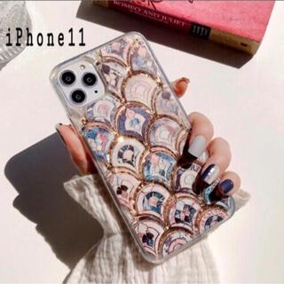 大理石 タイル風 モロッカン グリッター ケース【iPhone 11】(iPhoneケース)
