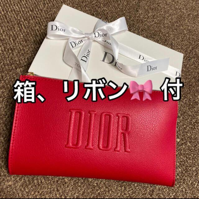 Christian Dior(クリスチャンディオール)のディオール ポーチ 赤 ノベルティ 新品未使用 箱 リボン🎀 付き レディースのファッション小物(ポーチ)の商品写真