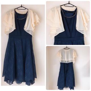 ボレロセット☆ OIOI 花柄レースドレス(ミディアムドレス)