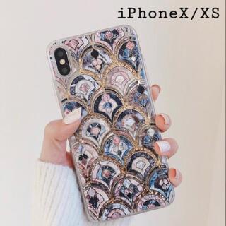 大理石 タイル風 モロッカン グリッター ケース【iPhone X/XS】(iPhoneケース)