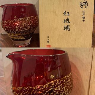 トウヨウササキガラス(東洋佐々木ガラス)の江戸硝子 紅波璃 片口 冷酒杯 セット(グラス/カップ)
