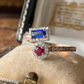 ヴィンテージ  サファイアとルビーのダイヤモンドリング オスマンジュエリー(リング(指輪))