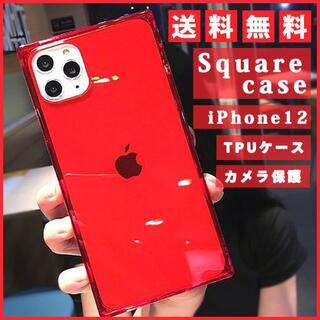 iphone12 スクエア型 スマホカバー シンプル クリア 素材 ケース 透明(その他)