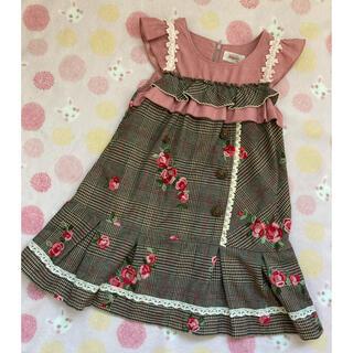 スーリー(Souris)の⭐️Souris スーリー ローズ刺繍ジャンバースカート110(ワンピース)