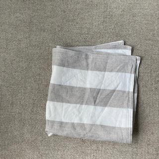 ムジルシリョウヒン(MUJI (無印良品))の無印良品 座布団カバー リネン100%  ボーダー ストライプ しましま(クッションカバー)
