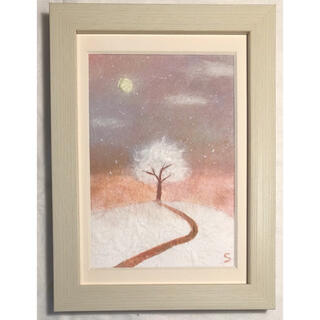 和紙ちぎり絵『満月と丘の上のふわふわの木』写真L版サイズ原画(絵画/タペストリー)