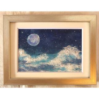 和紙ちぎり絵『満月の夜空』葉書サイズ原画(絵画/タペストリー)