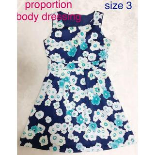 PROPORTION BODY DRESSING - プロポーションボディドレッシング 花柄ワンピース かぎ編み ネイビー