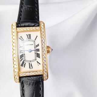 Cartier - 【仕上済】カルティエ TANKアメリカン SM YG ダイヤ レディース 時計