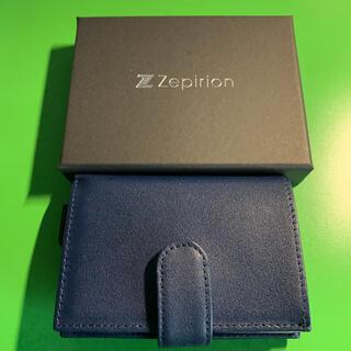Zepirion ミニ財布 本革 ネイビー 新品 スライド(折り財布)