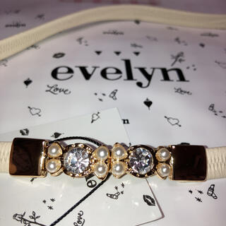 エブリン(evelyn)のEvelynエブリン ビジューゴムベルト 白/ホワイト Mサイズ袋かわいい原宿(ベルト)