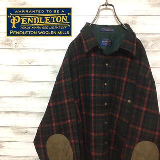 ペンドルトン(PENDLETON)の激レア ペンドルトン ウールシャツ チェック ビックシルエット レザー(シャツ)