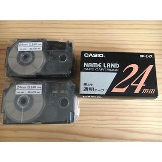 カシオ(CASIO)の《カシオ ネームランド》透明テープ・黒文字 24ミリ 3本組(オフィス用品一般)