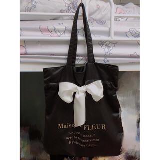 Maison de FLEUR - メゾンドフルール リボントートバッグ黒 白リボン