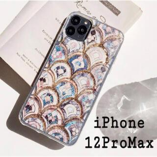 大理石 タイル風 モロッカン グリッター ケース iPhone12ProMax(iPhoneケース)