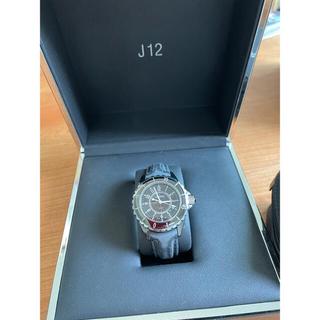 CHANEL - CHANEL J12 腕時計 レザーベルト 黒