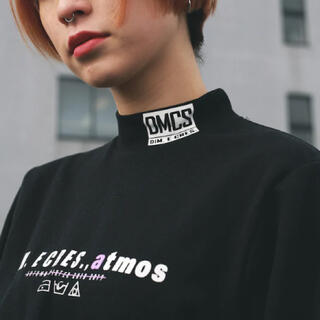 アトモスガールズ(atmos girls)のatmos pink × DIM.E CRES.ロングスリーブトップス ブラック(Tシャツ(長袖/七分))