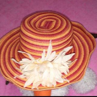 レディース ハット オレンジ 麦わら帽子 花付き 取り外し可能 ツバの形自由自在(麦わら帽子/ストローハット)