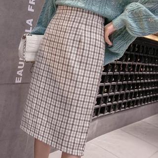 匿名配送チェックタイトスカート(ひざ丈スカート)