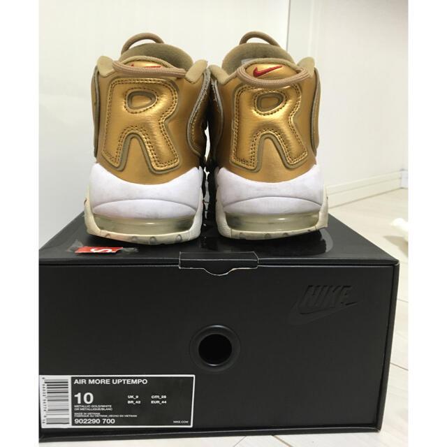 Supreme(シュプリーム)の【鑑定済】supreme x nike air more uptempo 金 メンズの靴/シューズ(スニーカー)の商品写真