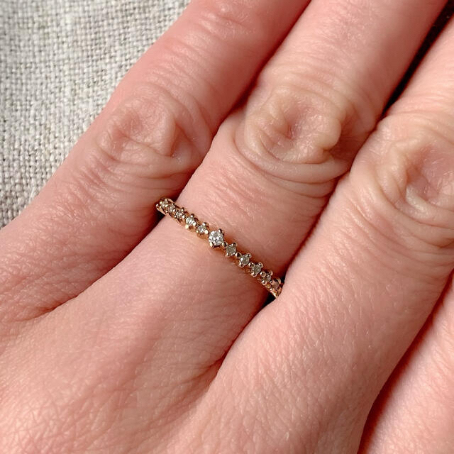 agete(アガット)のagete K10 ダイヤモンド ハーフエタニティリング レディースのアクセサリー(リング(指輪))の商品写真